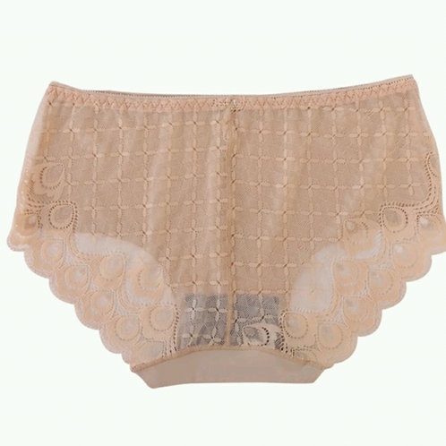 Beige Lace & Seamless Hipster Panty