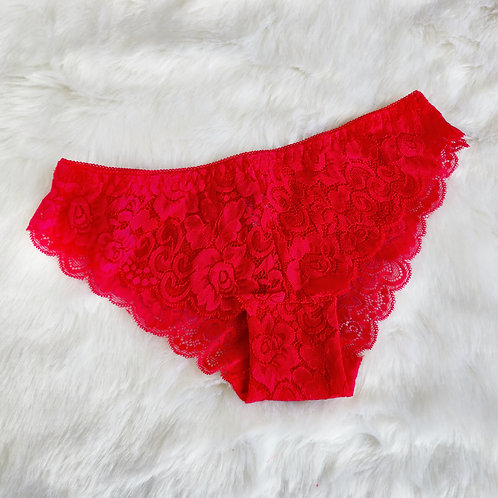 Red Classic Lace Bikini Panty