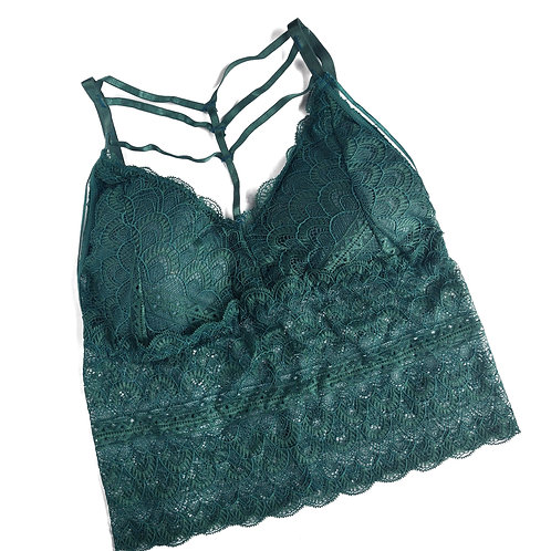 Green Strappy & Laced Crop Bralette