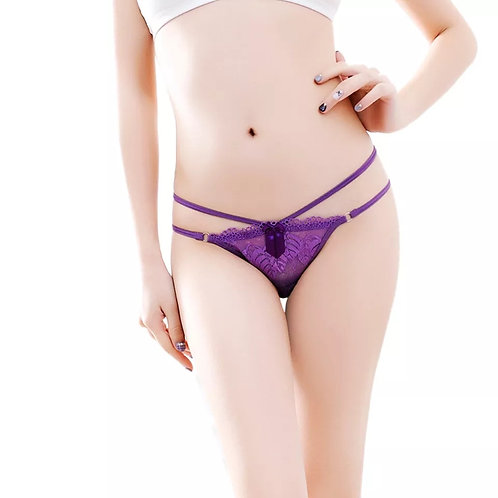 Purple Double String Lace Thong Panty
