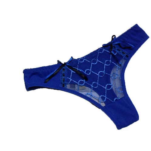 Blue Lace Thong Panty