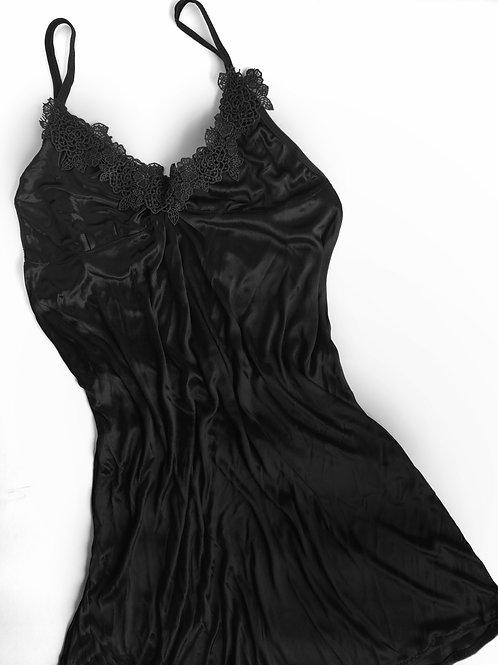 Semi Sheer Black Babydoll Nightdress with Gstring