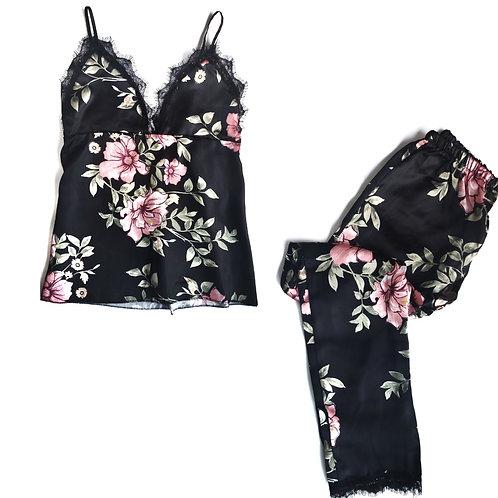 Floral Satin Cami & Pajama Set