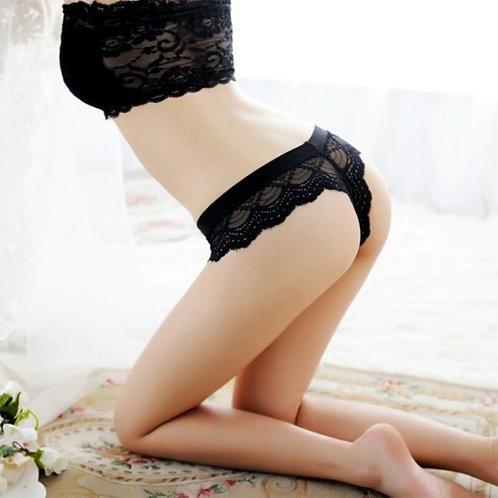 Sexy Black Lace Thong Panty