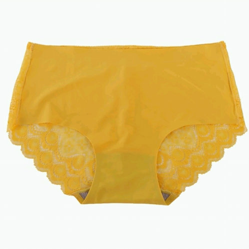 Yellow Lace & Seamless Hipster Panty