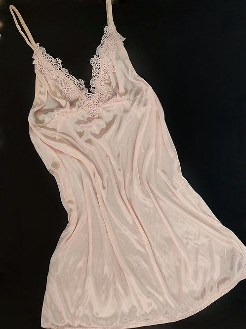 Semi Sheer Peach Babydoll Nightdress with Gstring