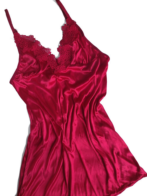 Semi Sheer Red Babydoll Nightdress with Gstring