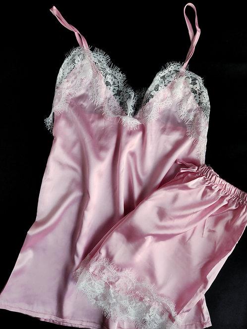 Pink Satin Cami & Shorts Set