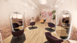 View of salon chairs