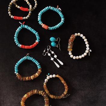 Бирюза, янтарь, коралл, перламутр, фурнитура 975, GF