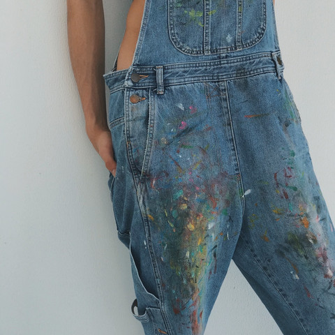 Denim overall, handpainted