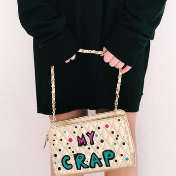 Leather bag, handpainted