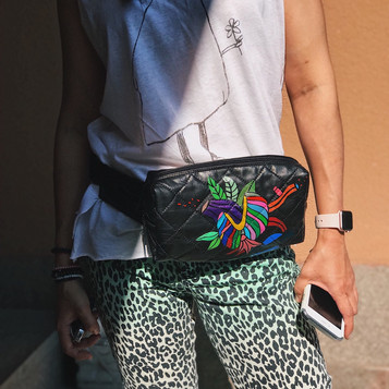 Leather bumbag, handpainted