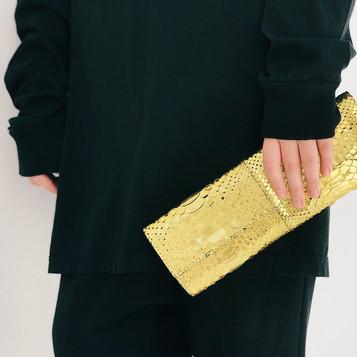 Python leather clutch