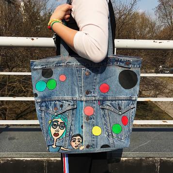 Denim bag, handpainted