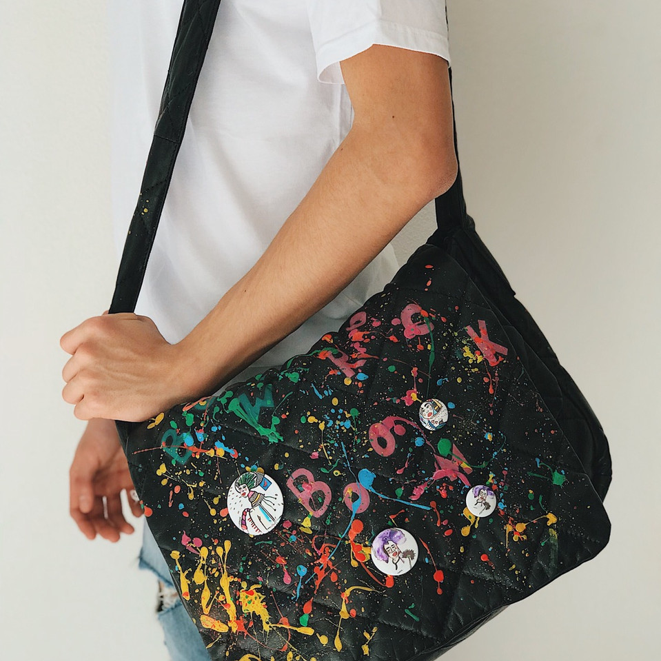 Leather bag, handpainted