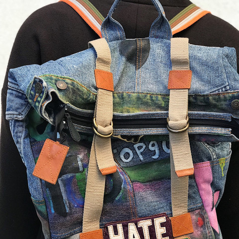 Denim bagpack, handpainted