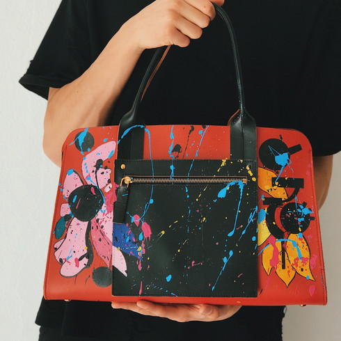 Marni leather bag, handpainted