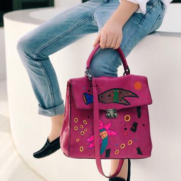Pierre Balmain leather bag, handpainted