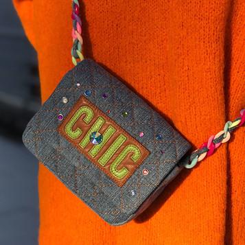 Denim bag with applique