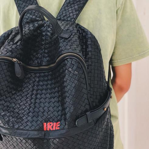 Leather bagpack, handpainted