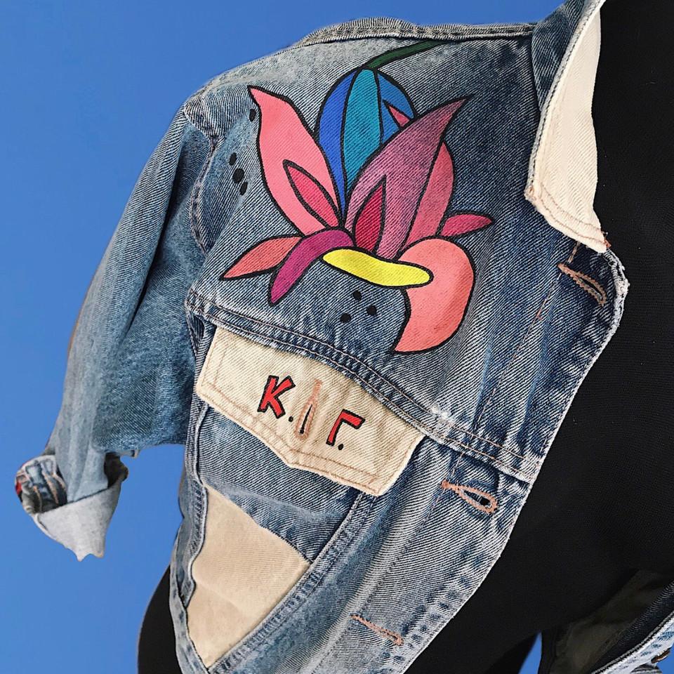 Denim jacket, handpainted