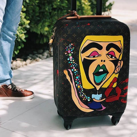 LV luggage, handpainted