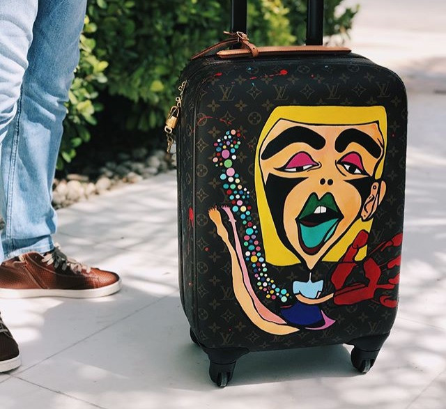 LV luggage, handpainted