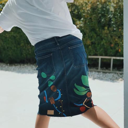 Denim skirt, handpainted