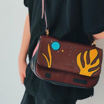 Sonya Rykiel leather bag, handpainted