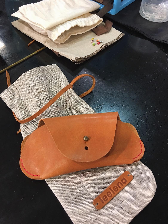 Кожаный чехол для очков, седельная кожа