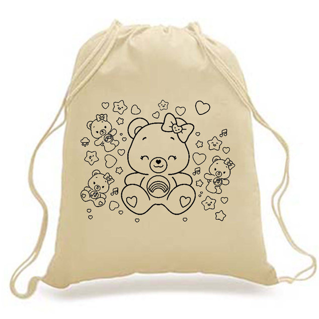 DIY-KIDS - Drawstring Backpack - TEDDY print
