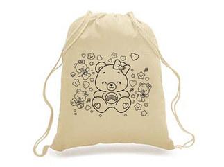 SKU: EWBP01/TEDDY- Earthworks Drawstring Backpack with teddy print