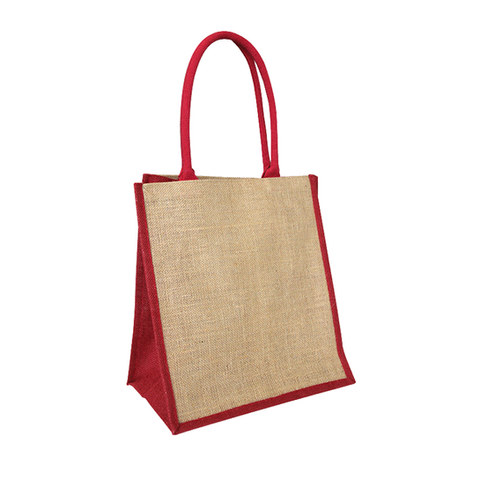 Red & natural jute bag - custom print