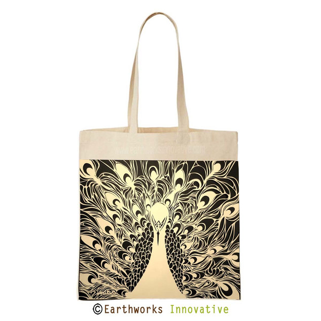 Earthworks Black jute and canvas bag pea