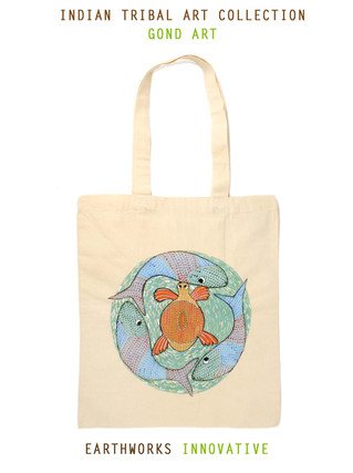 Earthworks Hand-painted Tote - Gond art