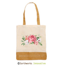 EARTHWORKS jute tote with floral print