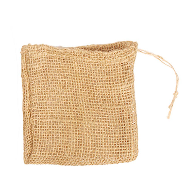 EARTHWORKS jute gift pouches with jute drawstring