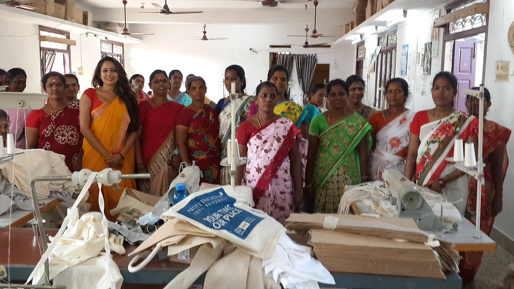 Surya Dinkar at unit with women employees who make ecofriendly bags