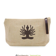 earthworks jute zipper pouch - with prin