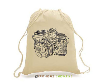 SKU: EWBP01/CAM - Earthworks Drawstring Backpack with camera print