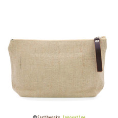 earthworks jute zipper pouch - plain.jpg