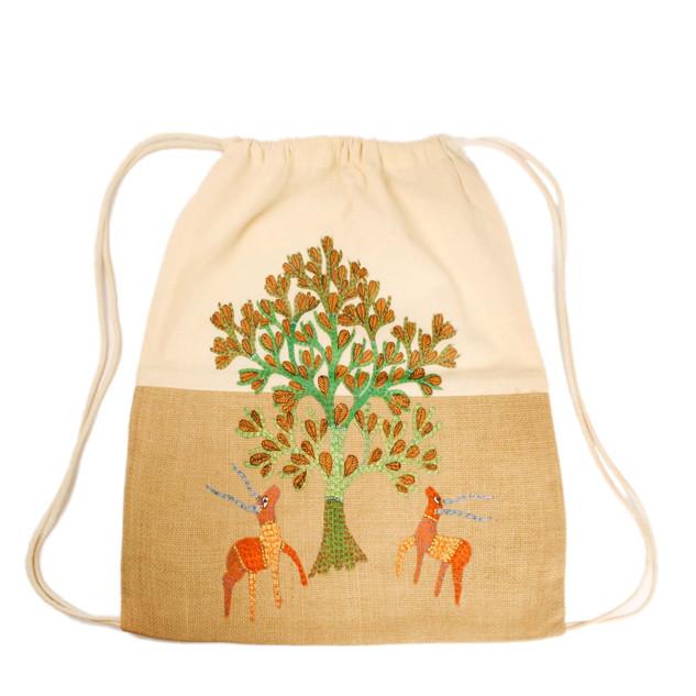 Earthworks Hand-painted Backpack - Gond art SKU: GBP-2.
