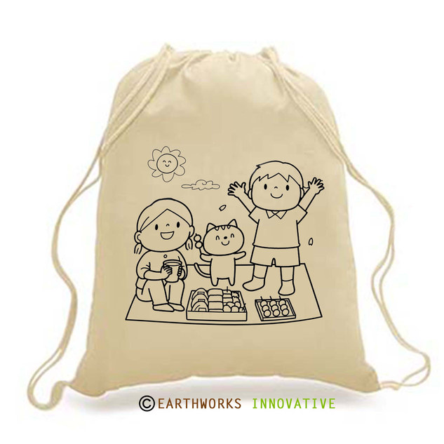 DIY-KIDS - Darwstring Backpack - picnic print