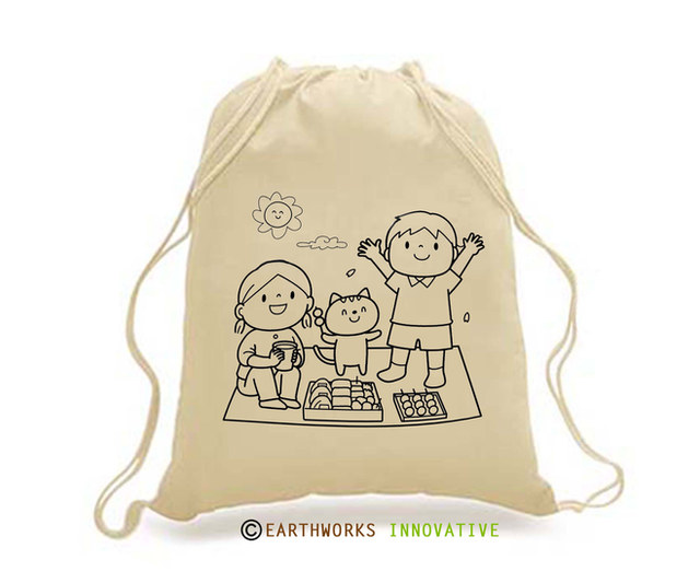 SKU: EWBP01/Picnic - Earthworks Drawstring Backpack with cartoon print