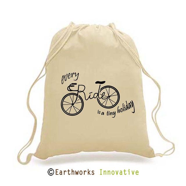 SKU: EWBP01/CYCLE - Earthworks Drawstring Backpack with bike print
