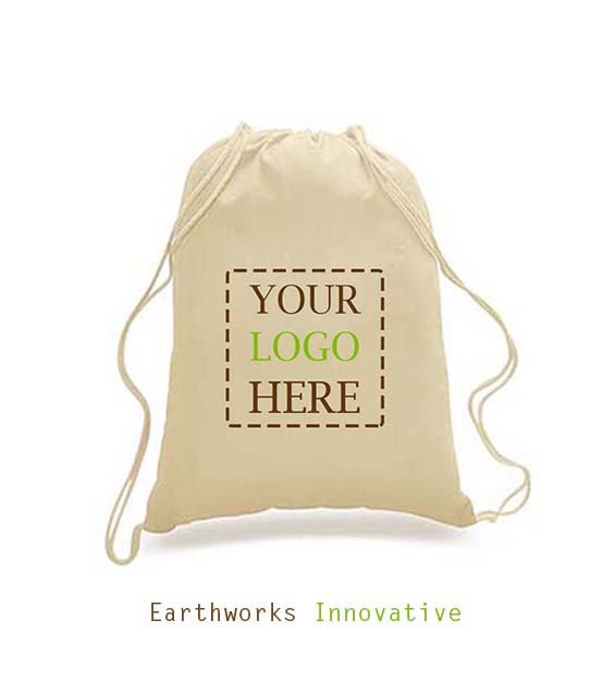 c380609c4ea2 SKU: BP01- Earthworks 100% Cotton Drawstring Backpack - Custom print