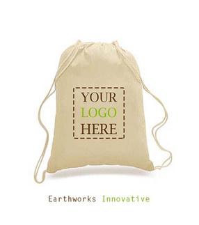 SKU: BP01- Earthworks 100% Cotton Drawstring Backpack - Custom print