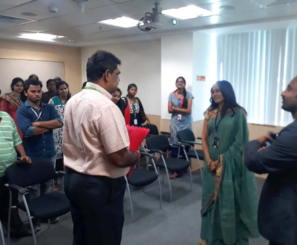 Ms.Surya Dinkar founder of Earthworks at Say No to Plastic awareness event at WIPRO