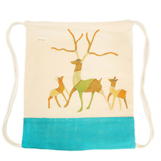 Earthworks Hand-painted Backpack - Gond art SKU:GBPB-2